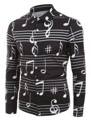 Long Sleeve Music Notes Print Button Up Festival Shirt -