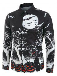 Halloween Night Pumpkins Print Long Sleeve Button Up Shirt -