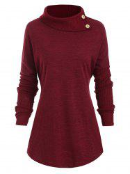 Buttons Turtleneck Heathered Longline Tee -