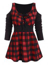 Plaid Open Shoulder Lace Up Longline T-shirt -