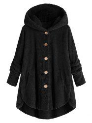 Plus Size Hooded Fluffy High Low Teddy Coat -