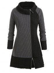 Plus Size Tunique Pull contraste Zippered -