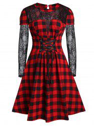 Plus Size Plaid Lace Insert A Line Dress -