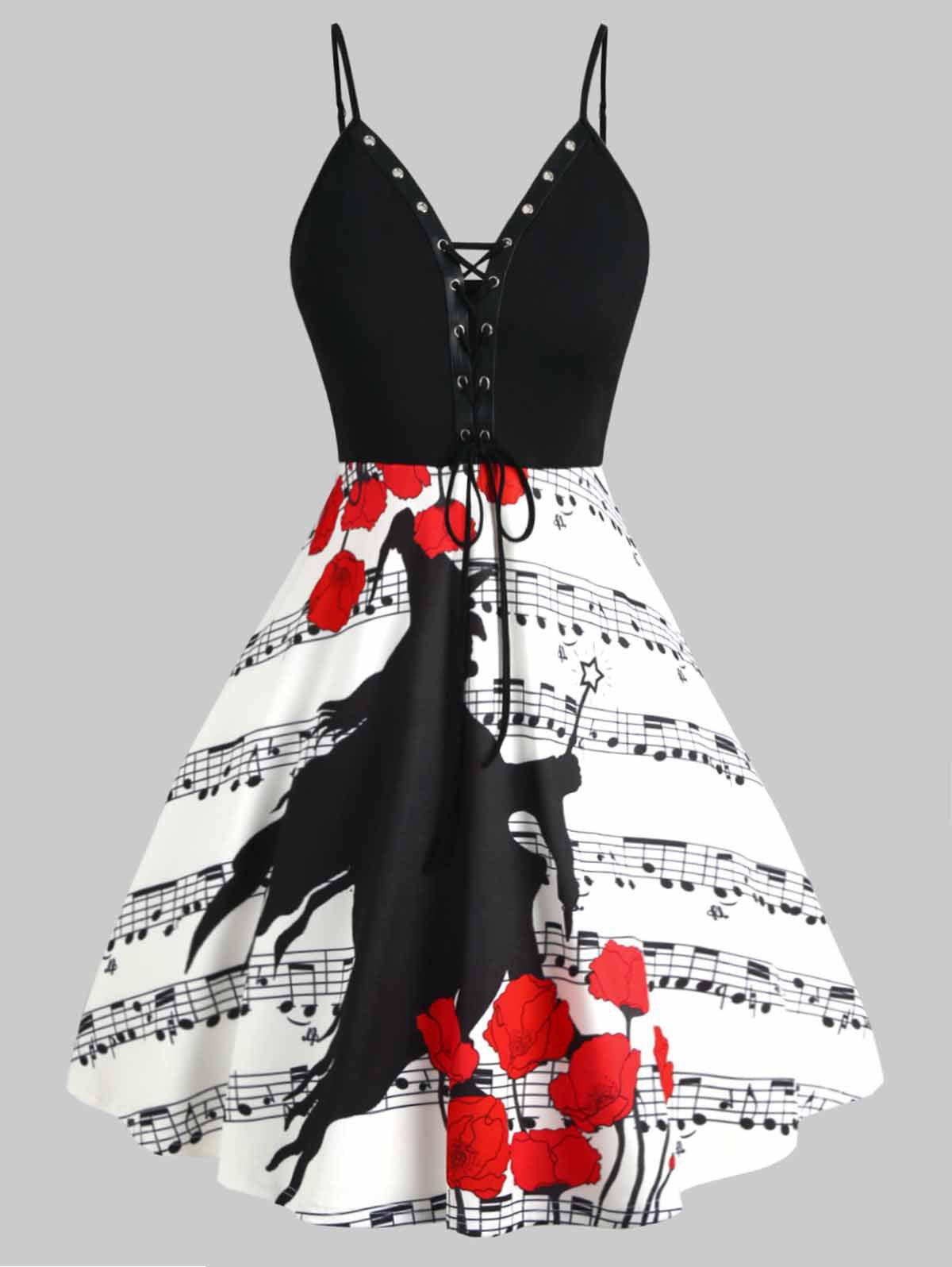Fancy Plus Size Lace-up Musical Note Witch Print Halloween Dress