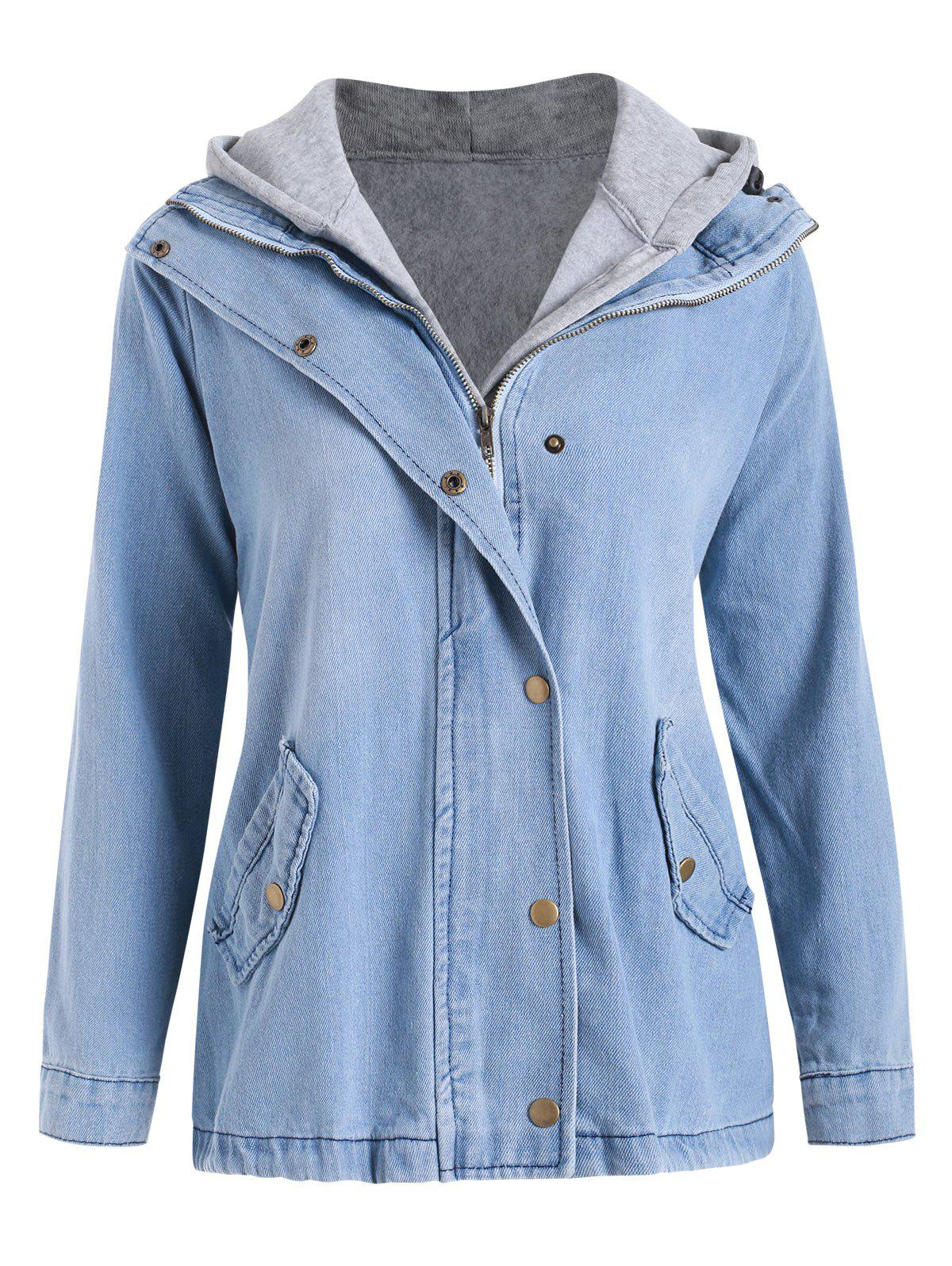 Discount Zip Up Denim Jacket with Hooded Top