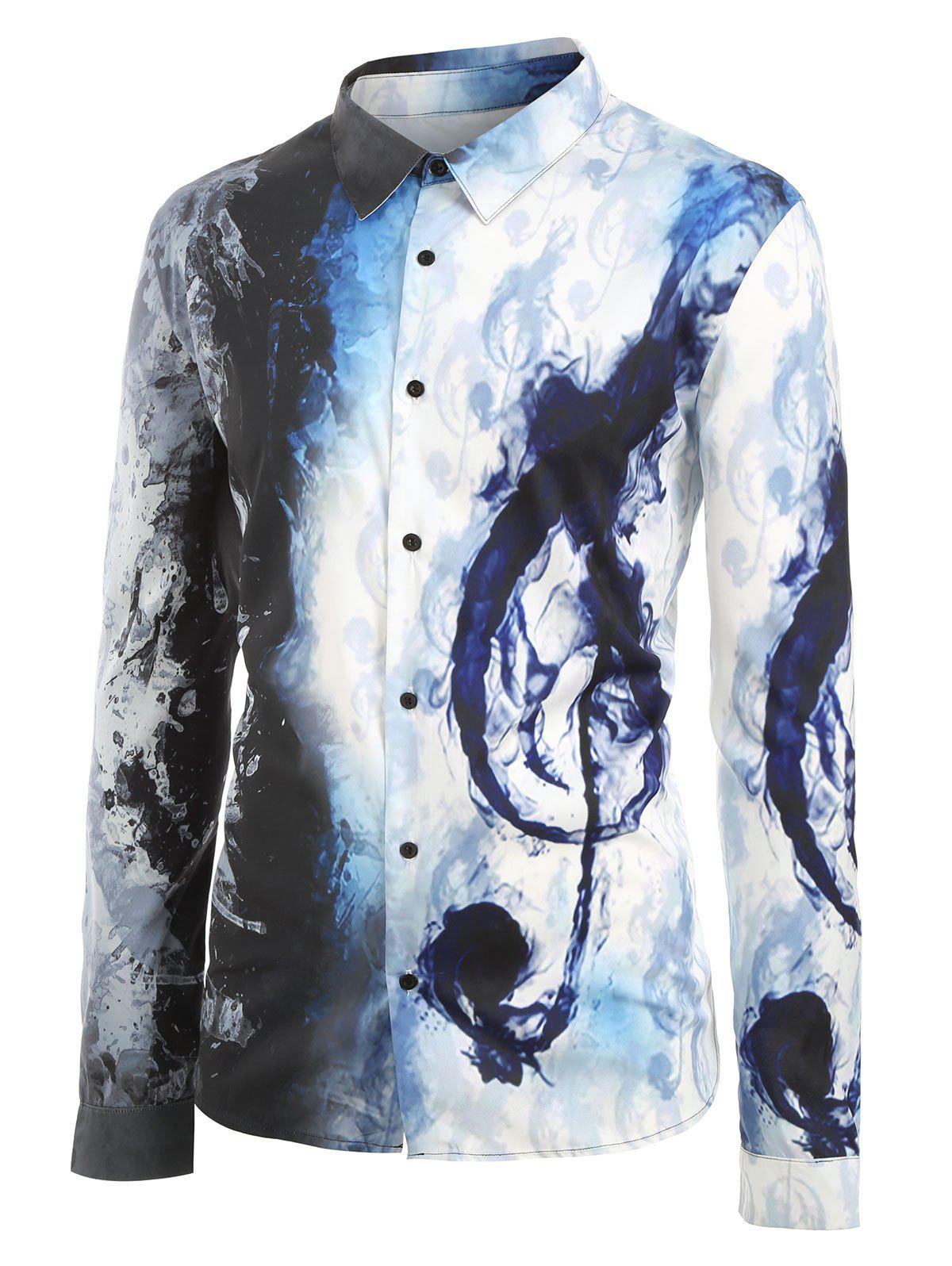 Latest Plus Size Ink Music Notes Print Button Up Long Sleeve Festival Shirt
