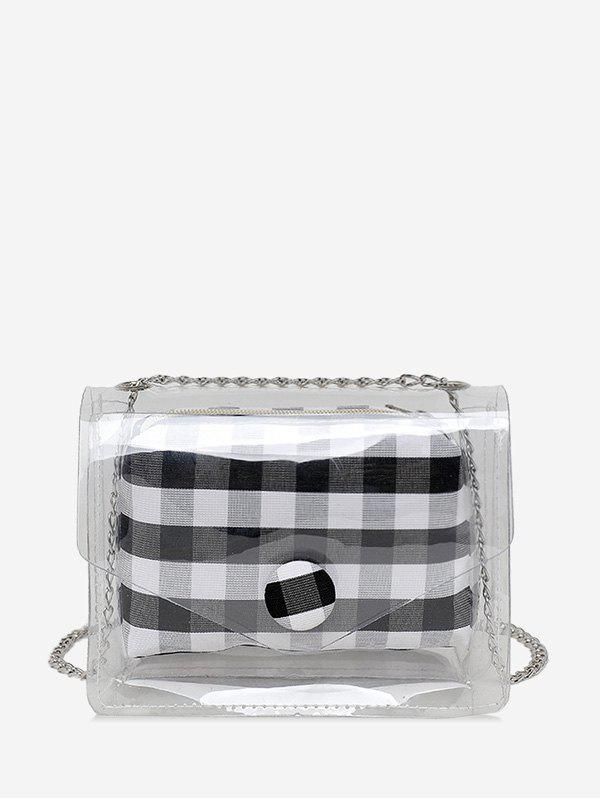 Hot 2 in 1 Transparent Plaid Print Chain Crossbody Bag
