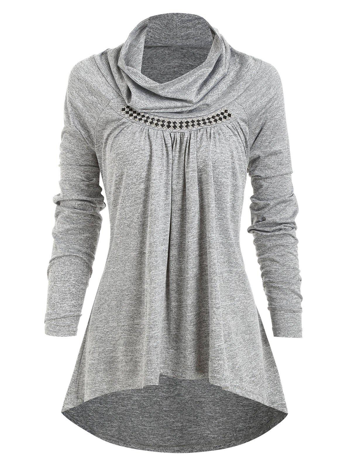 Shop Rhinestones Cowl Neck Ruched Heathered Tee