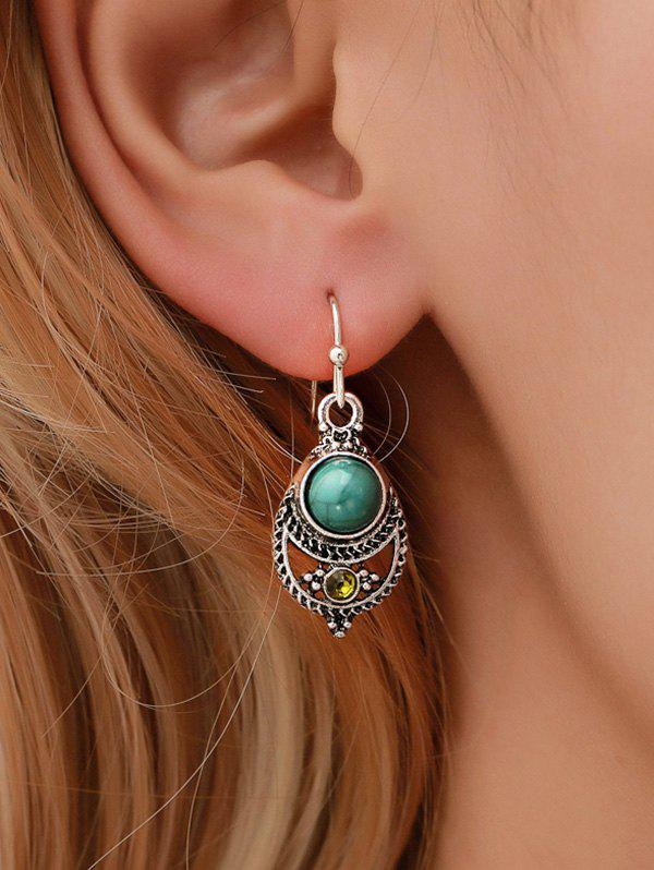 Buy Vintage Faux Turquoise Carved Teardrop Hook Earrings