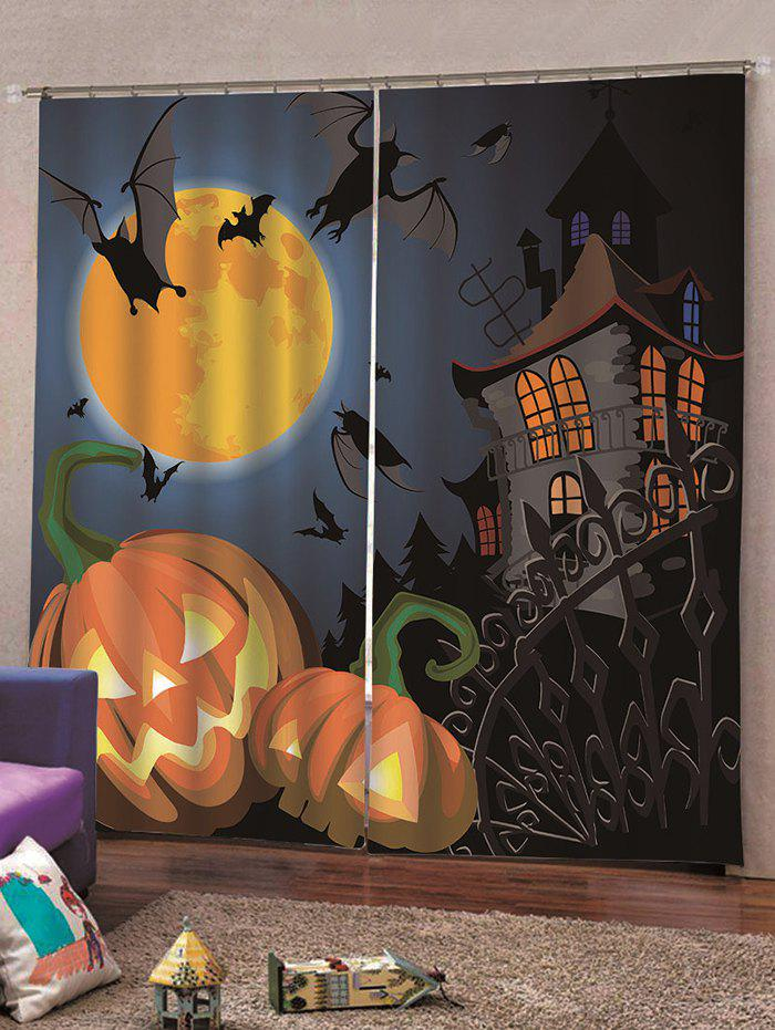 Shop 2PCS Halloween Pumpkin Bat Castle Pattern Window Curtains