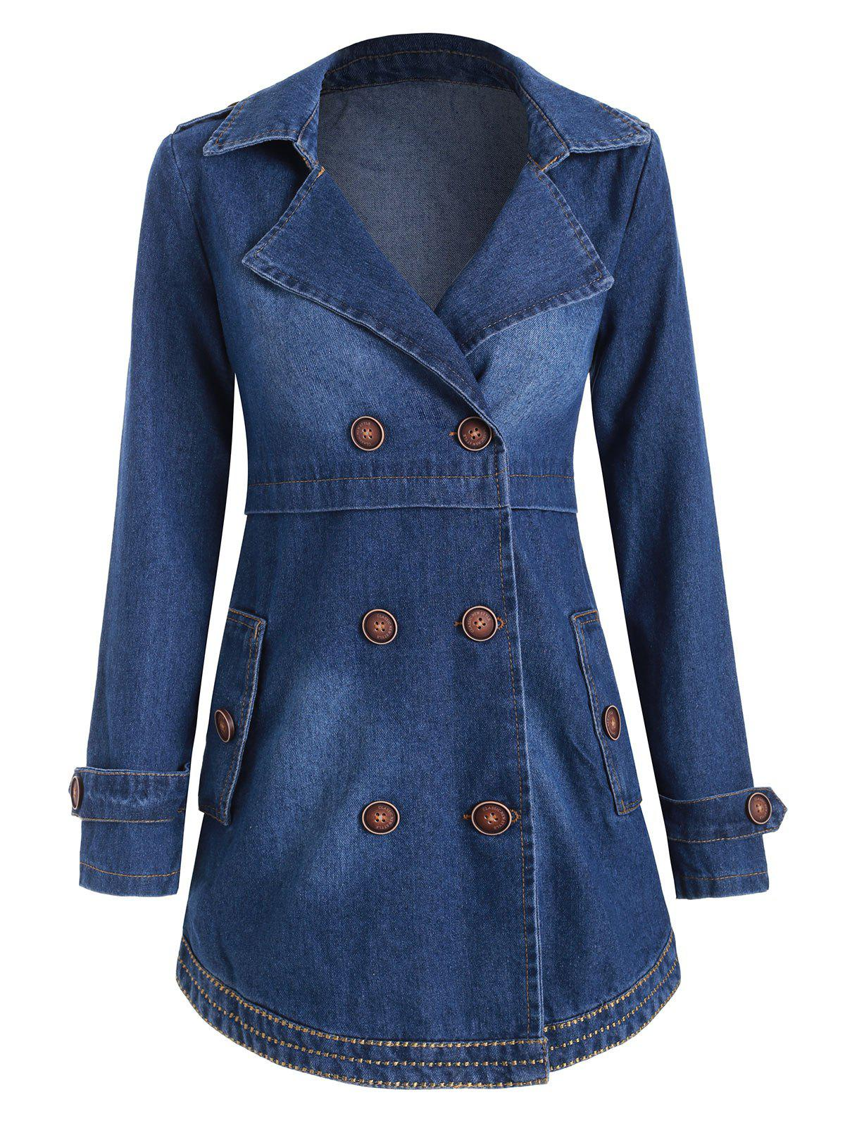 Store Buttons Embellished Lapel Denim Coat with Pockets