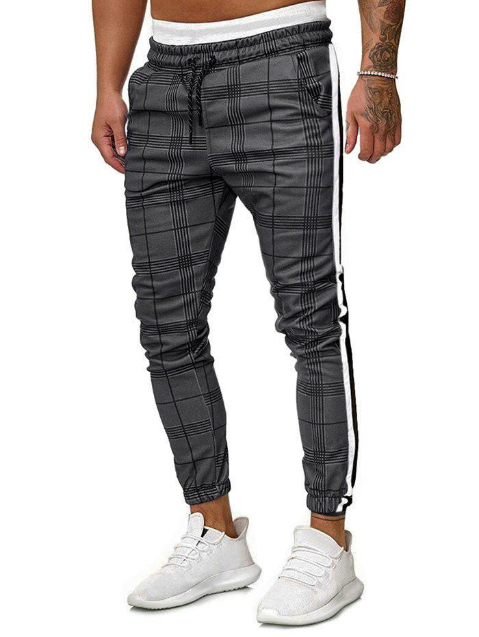 Pantalon de jogging sport à carreaux contrastants Gris Clair 2XL