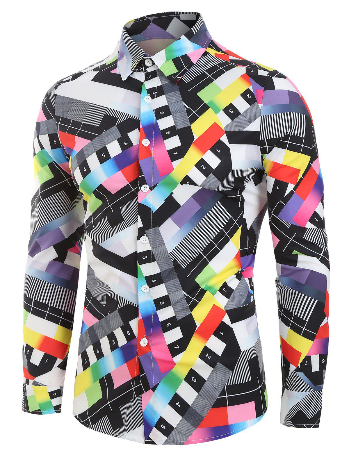 Affordable Colorful Patchwork Print Long Sleeve Button Up Shirt