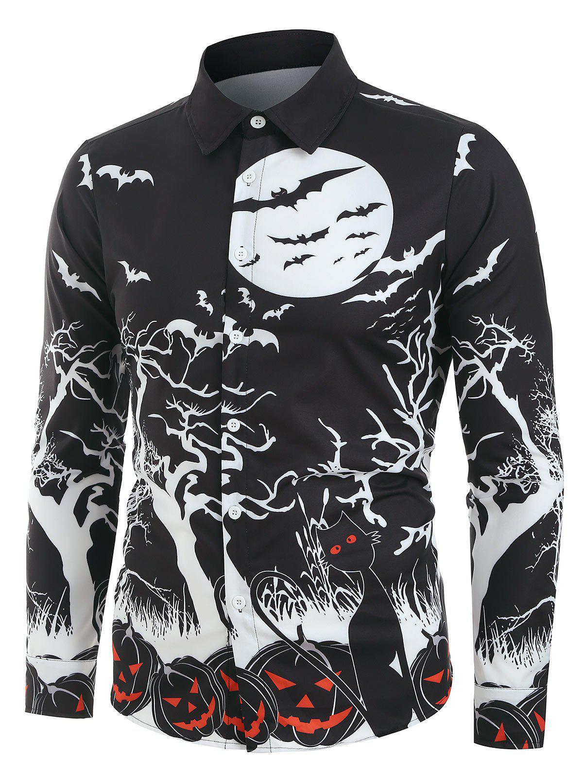 Buy Halloween Night Pumpkins Print Long Sleeve Button Up Shirt