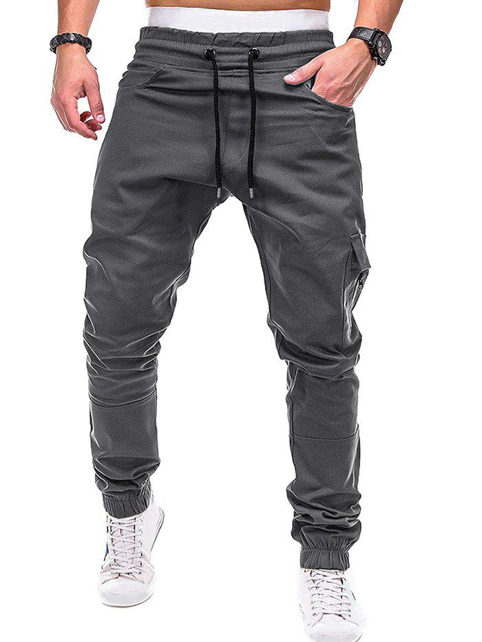 Discount Zip Accent Pockets Casual Jogger Pants