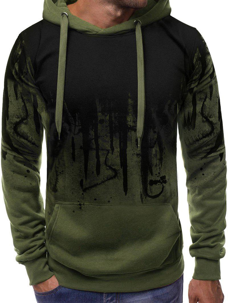Latest Abstract Gradient Painted Front Pocket Drawstring Hoodie