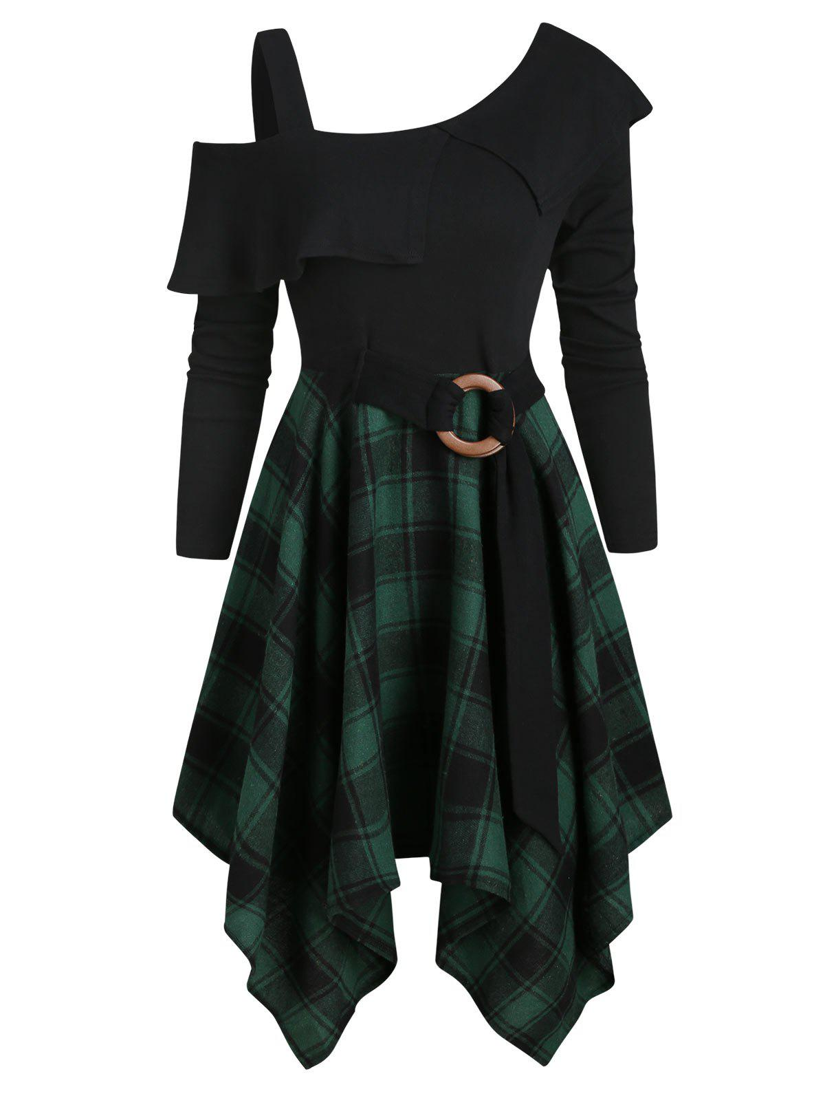 Trendy Plaid Skew Neck Flounce Asymmetrical Dress