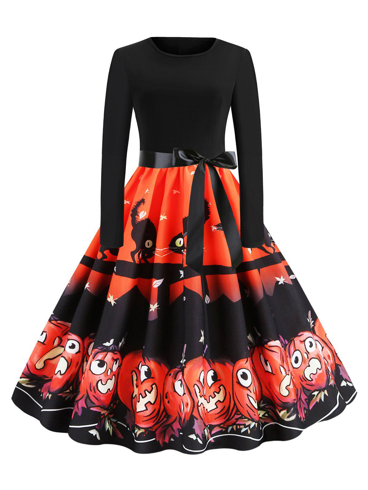 New Belted Cat Pumpkin Print Long Sleeve Halloween Dress