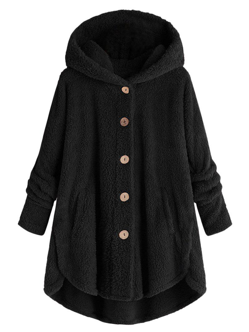 Shop Plus Size Hooded Fluffy High Low Teddy Coat