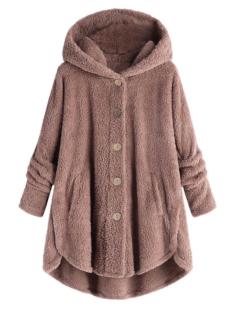Hot Plus Size Hooded Fluffy High Low Teddy Coat