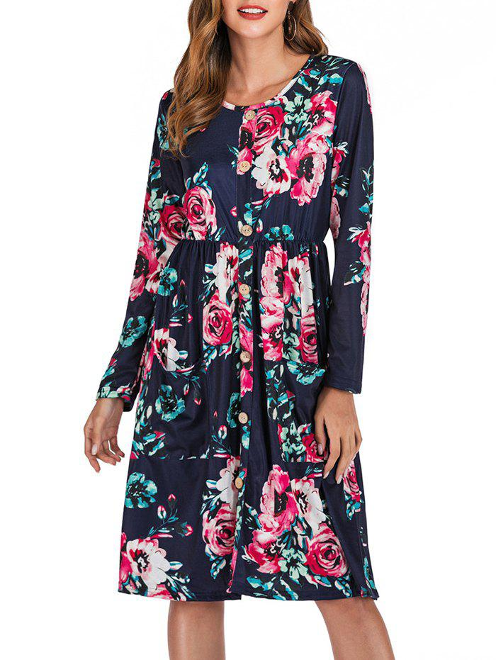 Chic Flower Button Embellished Long Sleeve Dress