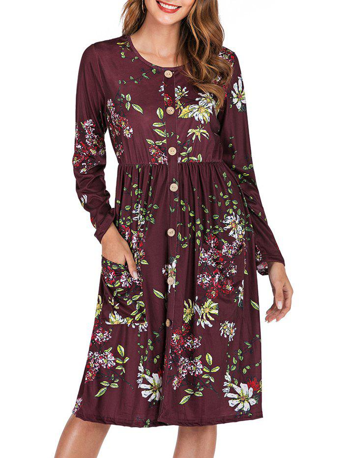 Discount Flower Button Embellished Long Sleeve Dress
