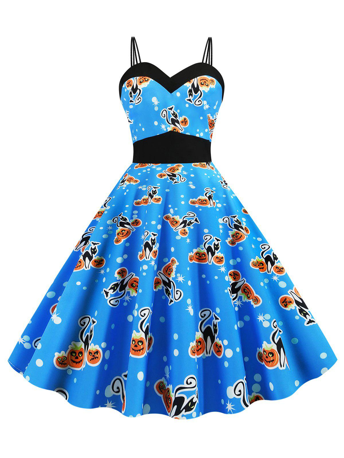 Shops Dual Strap Cat Pumpkin Print Sleeveless Halloween Dress