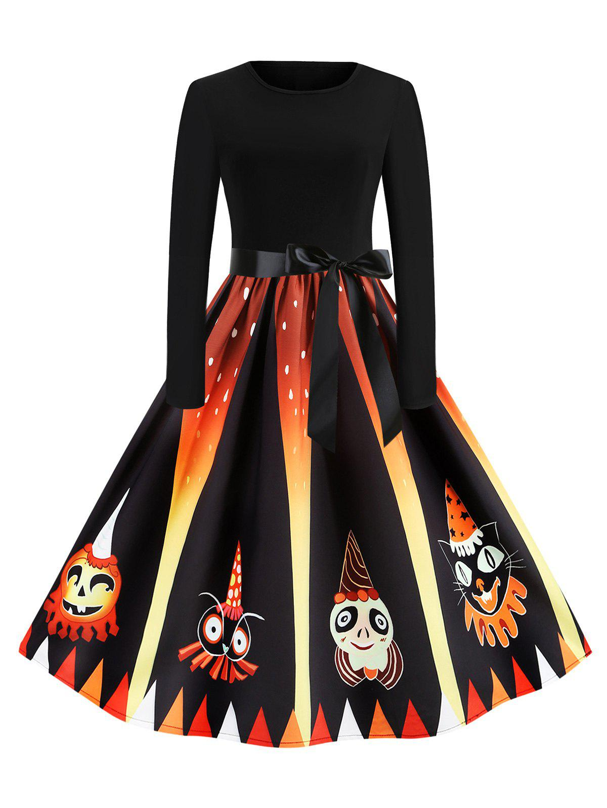 Hot Pumpkin Devil Print Long Sleeve Midi Halloween Dress