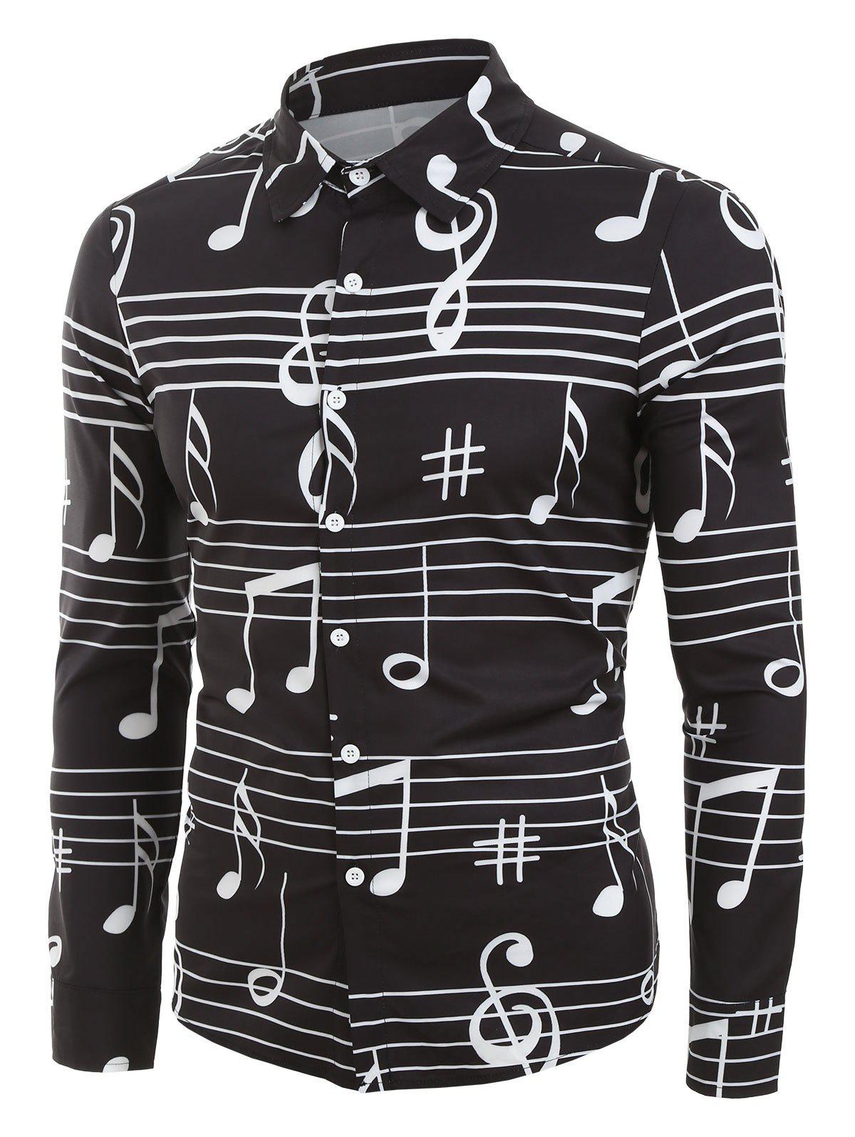 Trendy Long Sleeve Music Notes Print Button Up Festival Shirt