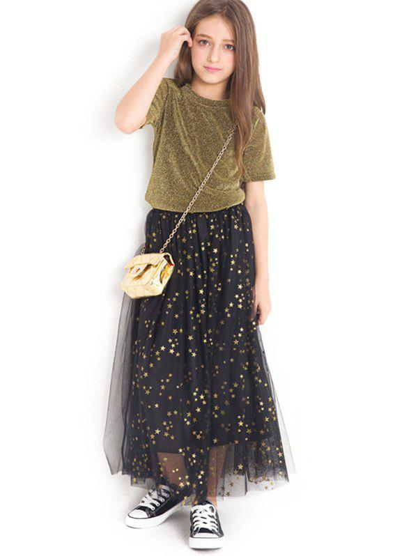 New Shiny T-Shirt and Star Pattern Tulle Skirt Set