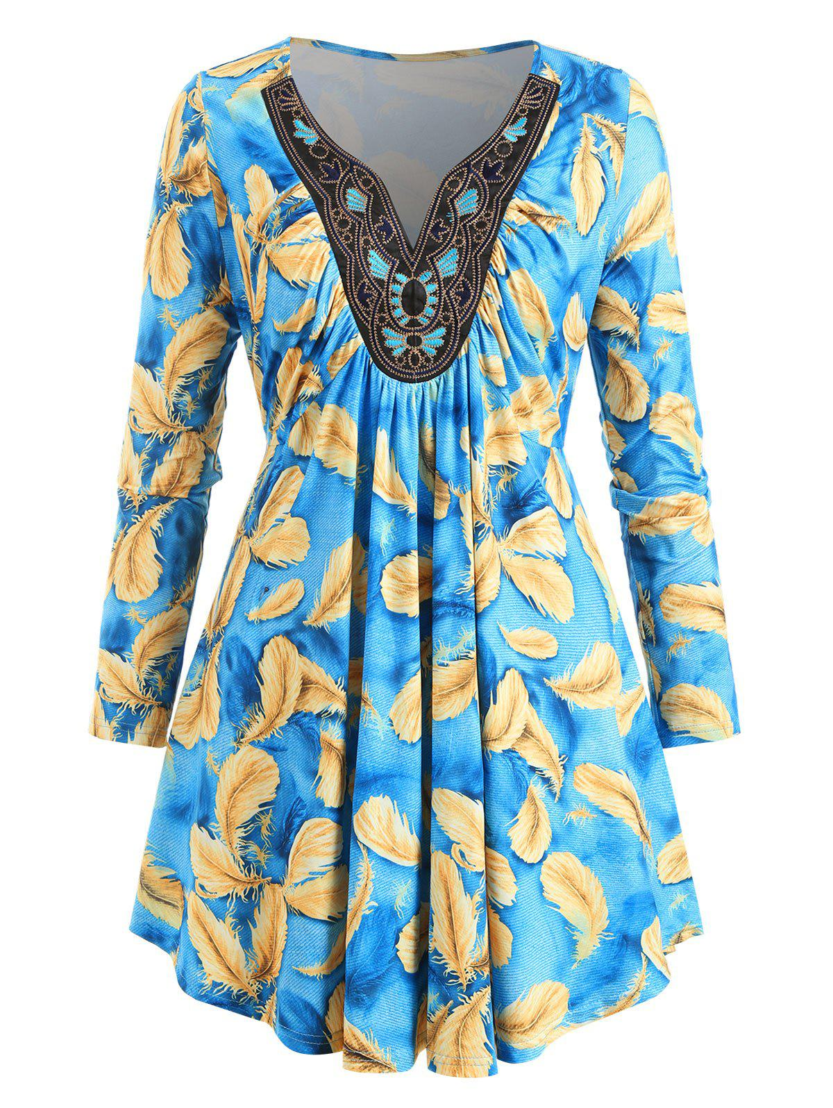 Chic Plus Size Long Sleeve Feather Print Tunic T Shirt