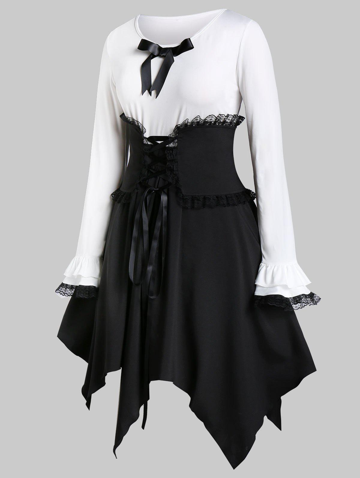 Plus Size Handkerchief Two Tone Dress With Lace Up Corset Belt