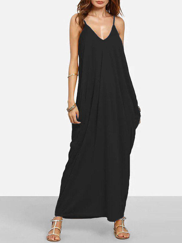 Hot Baggy Side Pocket Floor Length Cami Dress