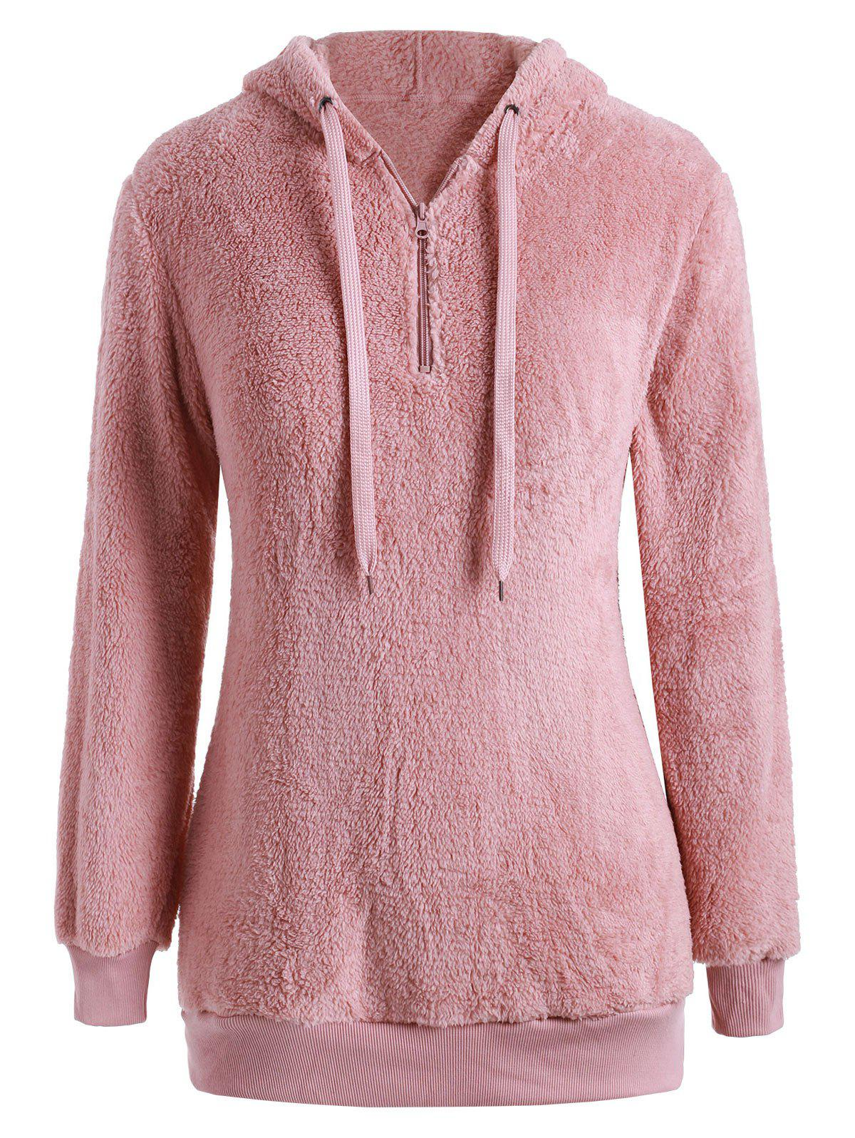 Outfit Plus Size Half Zip Fluffy Teddy Hoodie