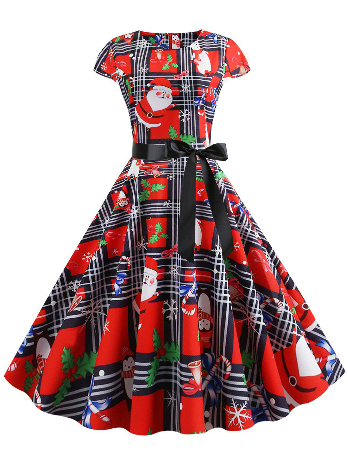Latest Plaid Santa Claus Gift Print Christmas Fit and Flare Dress