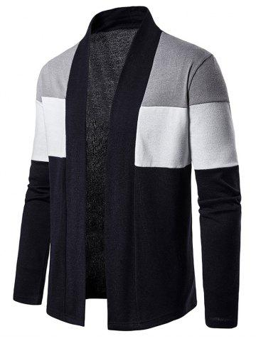 Color Block Open Front Long Sleeve Cardigan - GRAY - S
