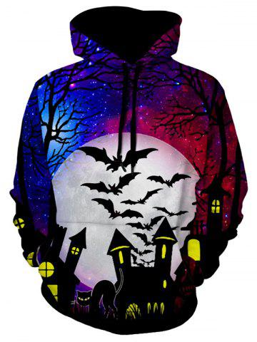 Halloween Cat Bat Pattern Hoodie - MULTI-A - S