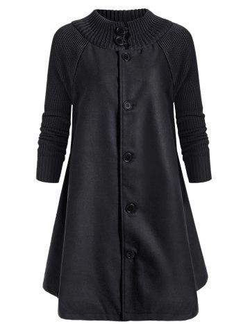 Button Up Stand Neck Knitted Panel Coat