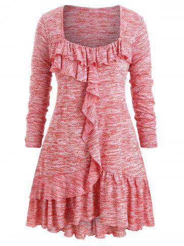Plus Size Flounce Marled Square Collar T Shirt - PINK - L