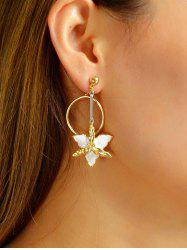 Alloy Enamel Floral Ring Drop Earrings -