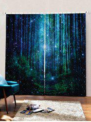 2PCS Fireflies Forest Pattern Window Curtains -