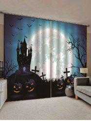2PCS Halloween Pumpkin Castle Bat Pattern Window Curtains -