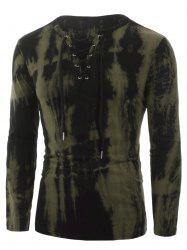 Tie Dye Print Lace-up Long Sleeve T-shirt -