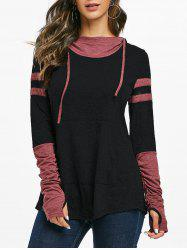 Hooded Ruched Sleeve Kangaroo Pocket Contrast Heathered T-shirt -
