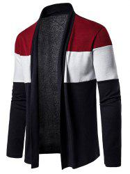 Color Block Open Front Long Sleeve Cardigan -