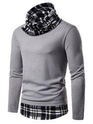 2 in 1 Plaid Trim Cowl Neck Pullover Sweater -