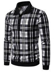 Plaid Print Half Button Vintage Pullover Sweater -