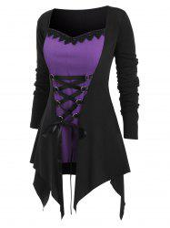 Plus Size Handkerchief Lace Up Two Tone Halloween T Shirt -