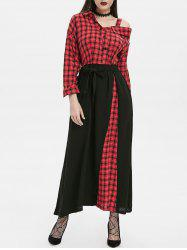 Plaid Button Embellished Skew Neck Maxi Dress -