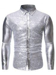Sequins Decoration Long Sleeves Shirt -